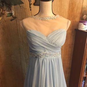 Gorgeous light blue colored sparkling formal dress